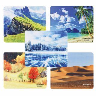 "SONNEN / Mouse pad ""NATURE"", rubber + fabric, 260х220х3 mm, 5 types"