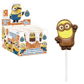 "MINIONS / Figured chocolate with cookies on a stick ""Mignon"", milk, 24 g, show box"