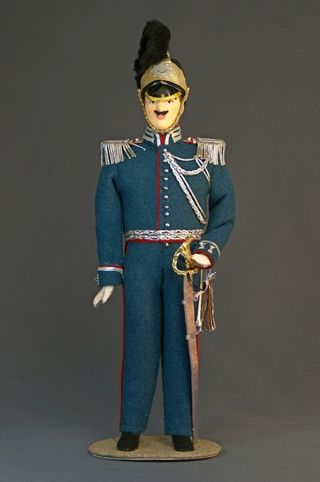 Doll gift porcelain. The gendarme officer. Military suit 1827-1844, Russia.