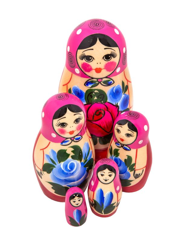 Matryoshka 5 dolls unconventional, Golden Khokhloma