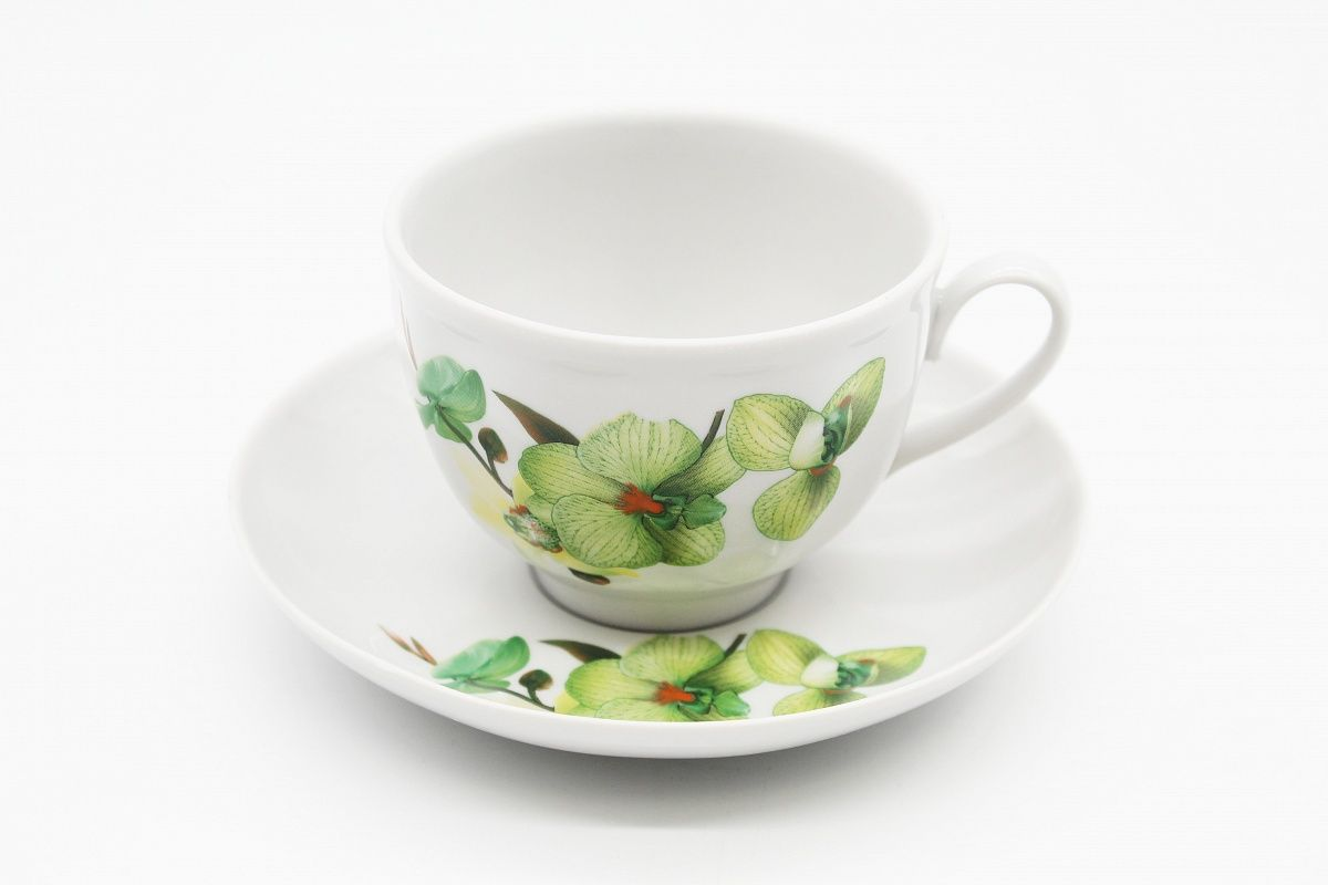 Dulevo porcelain / Tea cup and saucer set, 12 pcs., 275 ml Pomegranate Green Orchid