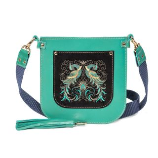 """Leather bag """"the Firebird"""" green with gold embroidery"""