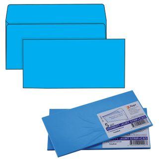 The envelope C65 (114х229 mm) tear-off strip, BLUE, 120 g/m2 SET of 5 PCs, Euro slot