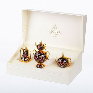 """A set of Christmas tree decorations """"Tea Party"""" in a gift box"""