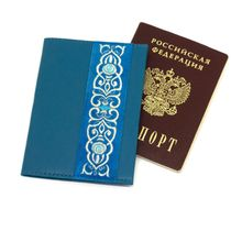 Passport cover 'Scent of spring' blue with silver embroidery