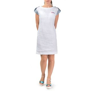 "Women's dress ""breeze"" in white with silk embroidery"