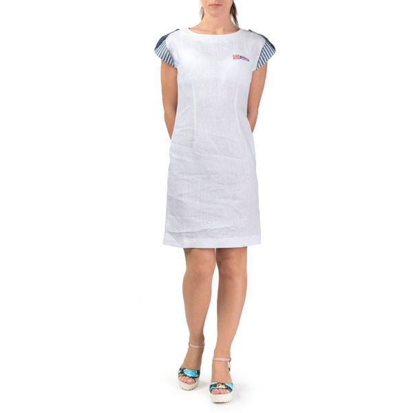 Women's dress 'breeze' in white with silk embroidery