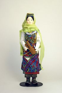 Doll gift porcelain. The Azerbaijan women's national costume.