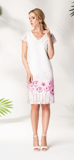 Dress with flowers white