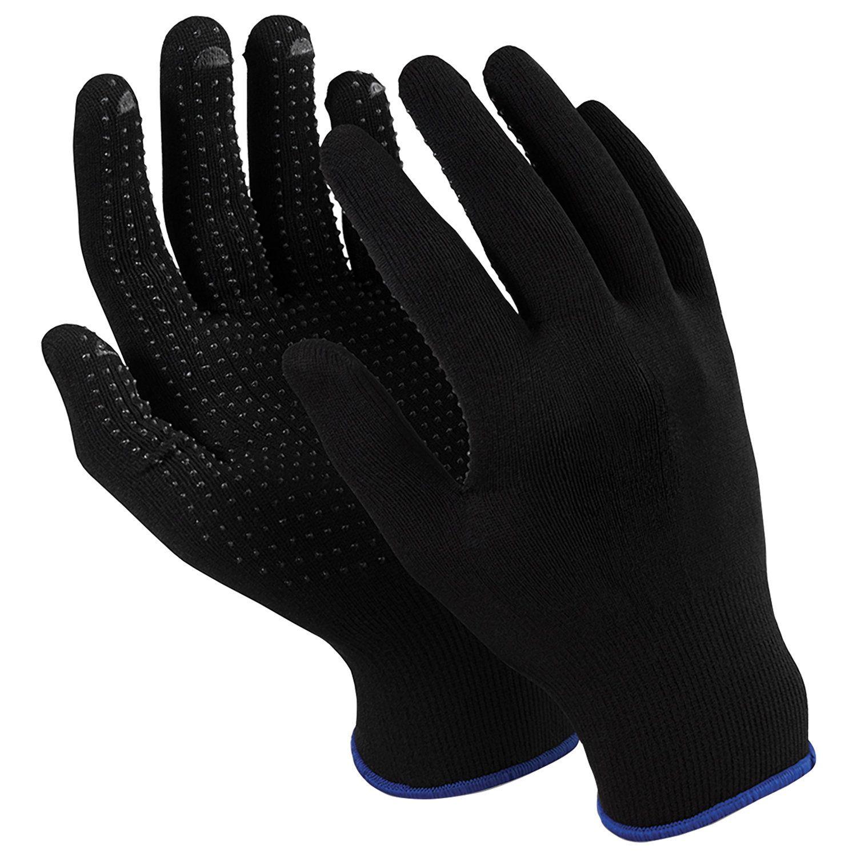 """MANIPULA / Gloves nylon """"Micron Black PVC"""", PVC-point, size 9 L, black, SET of 10 pairs"""