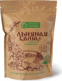 Flour and cereal products: Dry cereals based on flax seeds: Flax porridge with raisins and sesame seeds, 400g