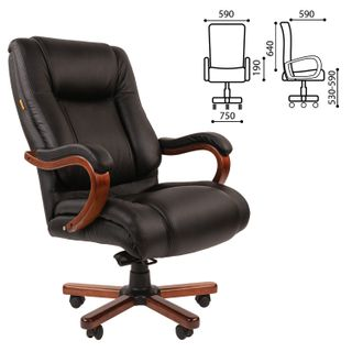 Office seat CH 503, load up to 180 kg, leather, wood, black