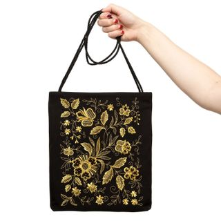 "Bag ""Silver bouquet"" of black color with Golden embroidery"