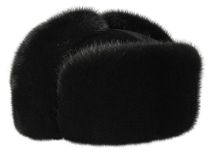 Winter mens fur hat with mink fur with natural leather Talan