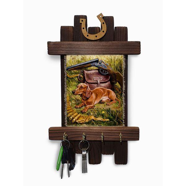 "Universal scroll / Handmade wooden wall key holder ""Hunting - dachshund"""