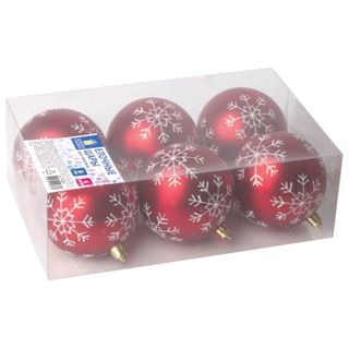Golden fairy tale / Christmas tree balls SET 6 pcs., Plastic, 8 cm, with a white pattern, red