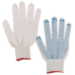 LIME / Cotton gloves, SET 5 PAIRS, 7.5 class, 46-48 g, 166 tex, PVC point, GOST, 4 threads, WHITE