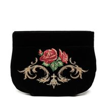 Velvet cosmetic bag 'Dolce Rosa' black with gold embroidery