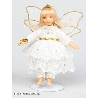 Birgitte Frigast / Porcelain Doll Angel, with a magic wand, star, 18 cm