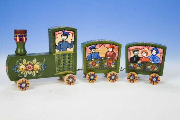 Gorodets train with wagons wooden souvenir. Gorodets toy