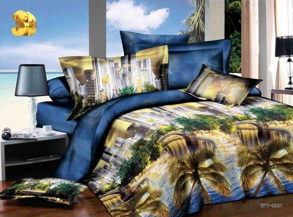 Satin bed linen 3D Tropical