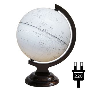 Outline globe with a diameter of 210 mm on a wooden stand with backlight