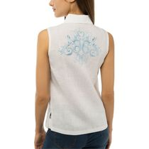 Women's blouse 'Watercolor' white with silk embroidery