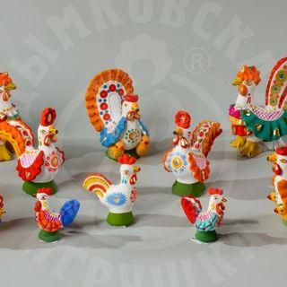 """Chickens, cockshooks - folk art craft """"Dymkovo toy"""""""