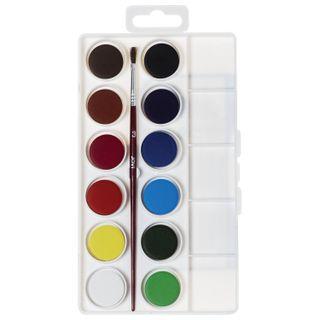 Watercolor JOVI (Spain), 12 colors with brush, plastic box, Euro slot