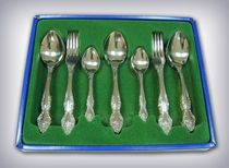 Cutlery set 'Troika' of the 36 items in carton box PVC with a flocked liner, Pavlovsky plant