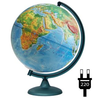 Physical relief globe with a diameter of 320 mm with backlight
