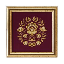 Panel 'waltz of the flowers' Burgundy with gold embroidery