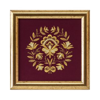 """Panel """"waltz of the flowers"""" Burgundy with gold embroidery"""