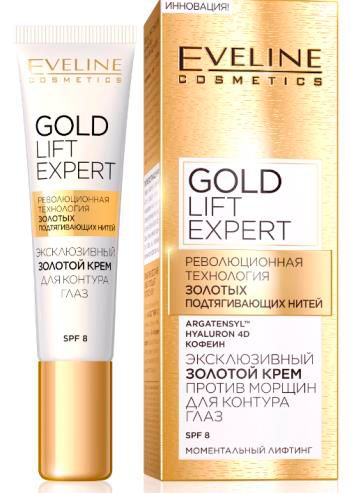 Exclusive Golden anti-wrinkle cream for the eye contour gold series lift expert, Eveline, 15 ml