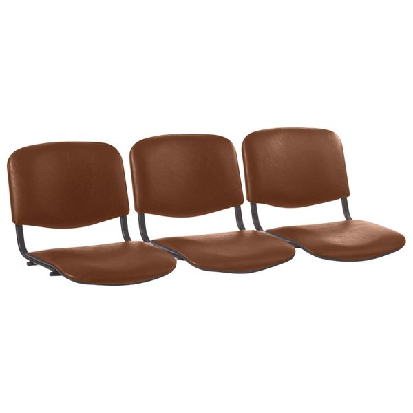 Seats for the chair 'Trim', set 3 pieces, leather brown, frame black