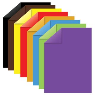 Coloured paper, A4, 2-sided, coated (glossy), 16 sheets 8 colors, on a bracket, INLANDIA, 200х280 mm,