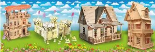 Designers for children: doll houses, furniture for dolls, fortresses and siege buildings, truck cranes, trucks, tanks, etc.