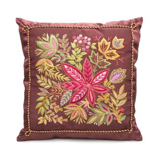 "Cushion cushion, ""Ash"" brown with gold embroidery"