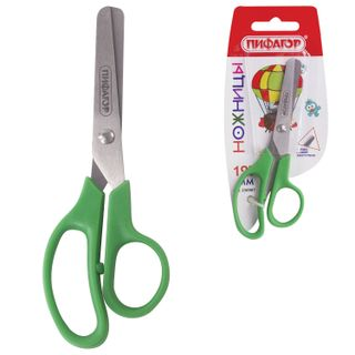 Scissors PYTHAGORAS, 127 mm, asymmetric handles, carton packing with hanger, assorted