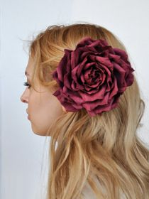 Hairpin brooch Rose burgundy