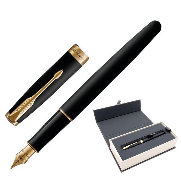 Pen pen PARKER 'Sonnet Matt Black GT Core' case, black lacquer, gold plated parts, black