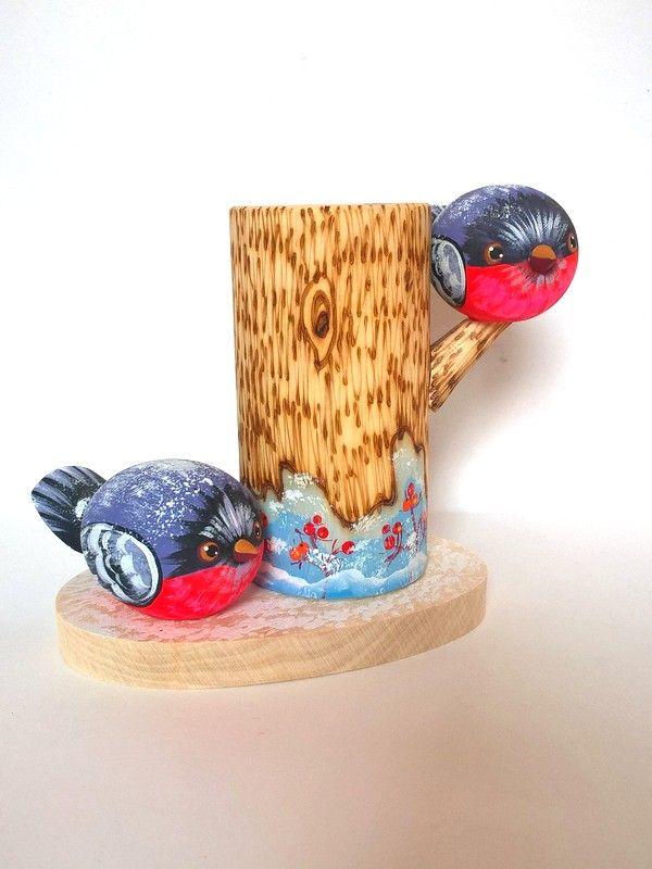 """Tver souvenirs / Pencil holder """"Bullfinches"""""""