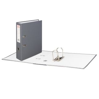 Folder-Registrar BRAUBERG with a coating of PVC, 80 mm, with corner, grey (double life)