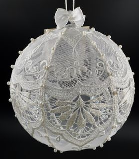 The new year's ball the lace on net with hand embroidery, d=10 cm