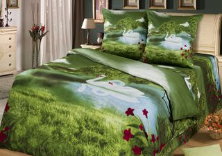 Satin bed linen 3D Swan song
