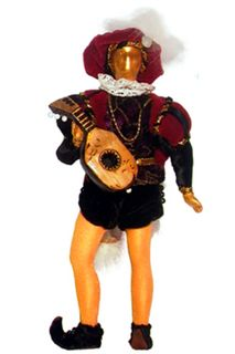 Doll gift. Venetian-lute player. 12век. Italy. The carnival of Venice.