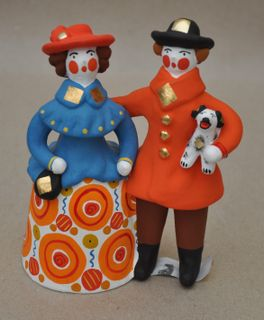 Dymkovo clay toy a Lady and gentleman with a dog