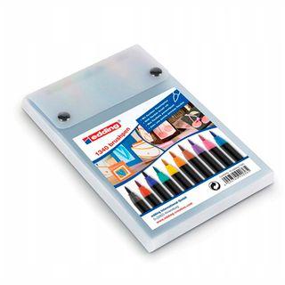 Edding / Colored marker pen set, flexible brush tip, 10 colors, plastic pencil case 10 colors