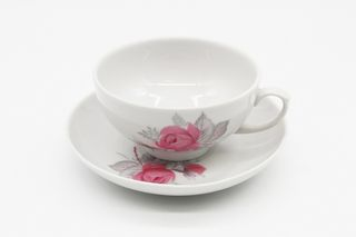 Dulevo porcelain / Set tea cup with saucer, 12 pcs., 220 ml Ruby Wild rose economy