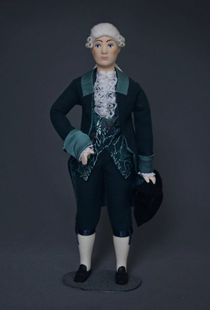 Doll gift. Day suit for visits. The middle of the 18th century, Paris. France.